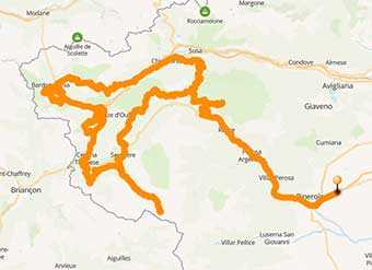 Mappa Moto avventura in off road d'alta quota in Val di Susa